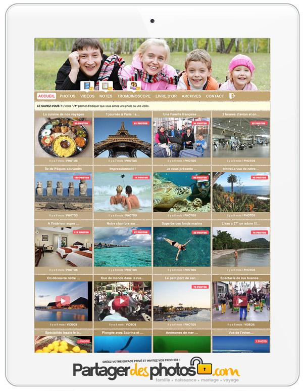 Partage de photos privé : Plus qu'un simple service de stockage photos et partage privé, notre plateforme offre un service unique pour créer votre blog photo privé