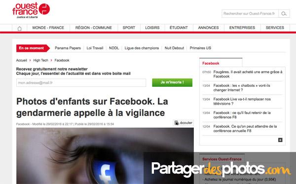 La gendarmerie met en garde les parents qui partagent des photos d'enfants sur Facebook