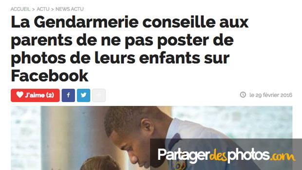 La gendarmerie alerte les parents qui partagent des photos de leurs enfants sur Facebook