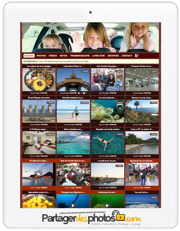 Réseau social famille : Une fois que le réseau social privé est créé, les invités peuvent naviguer dans les différents albums et laisser des commentaires sur chaque photo ou chaque vidéo. Tout reste privé, uniquement accessible dans l'espace sécurisé.