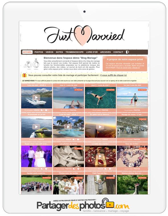 Création site de mariage : votre espace mariage 100% privé pour partager avec vos invités et qui vous permettra à vos invités de charger leurs photos également !