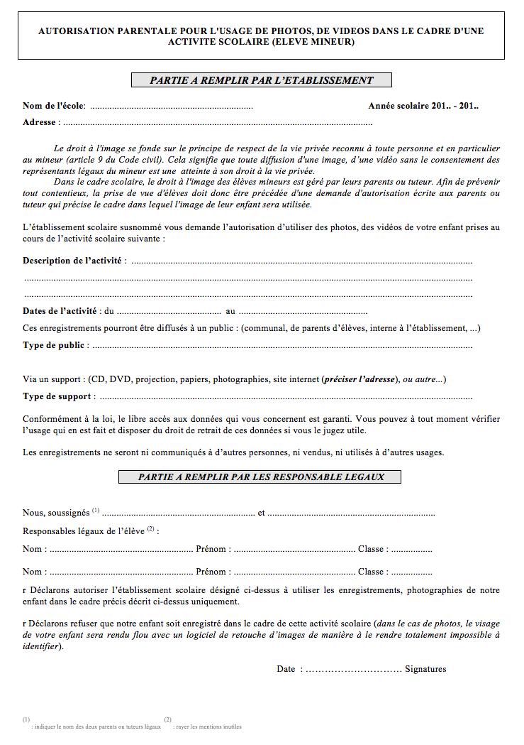 Autorisation parentale pour l'usage de photos et vidéos dans le cadre d'une activité scolaire pour un élève mineur