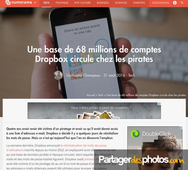 Une base de 68 millions de comptes Dropbox circulerait chez les pirates...