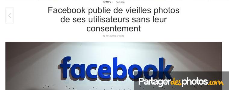 Facebook publie des vieilles photos de ses utilisateurs sans leur consentement (11 décembre 2016 sur BFMTV)