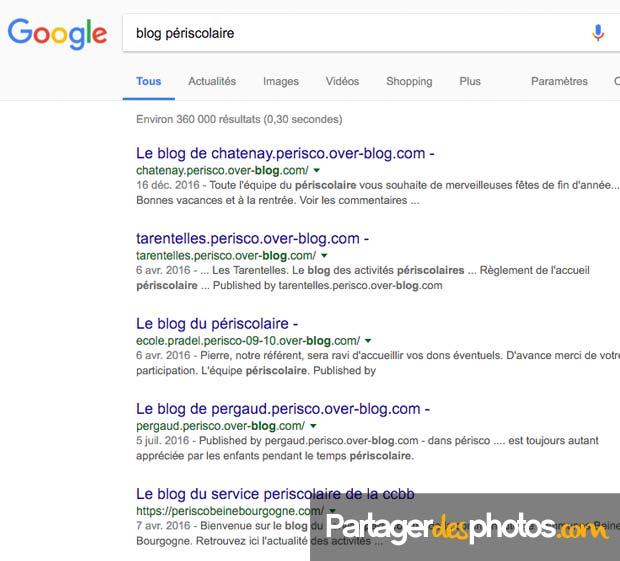 Blog périscolaire : des sites périscolaires publics dans Google avec pour la plupart, les photos des enfants accessibles de façon publique...