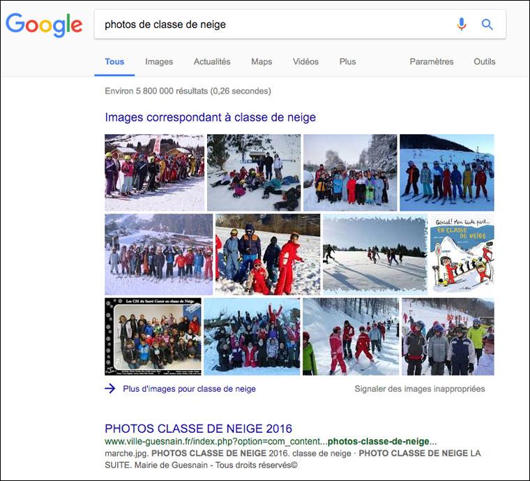 """En tapant """"photos de classe de neige"""" dans google, on peut s'apercevoir qu'un grand nombre de photos sont publiées de façon publique..."""