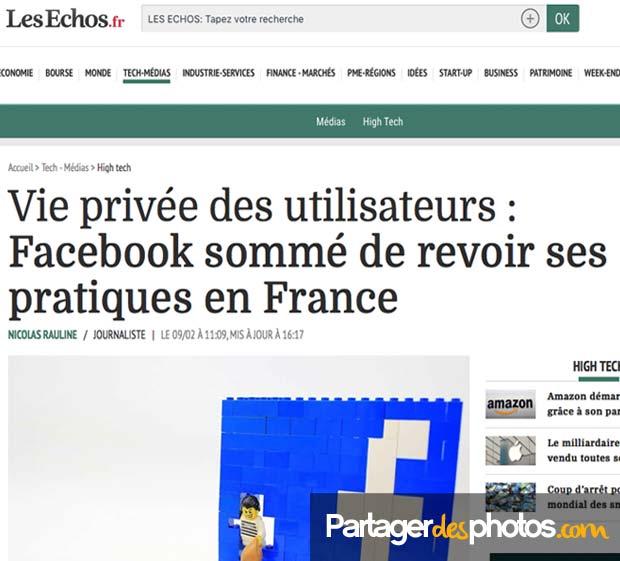 Stockage photo en ligne : Facebook sommé de revoir ses pratiques en France