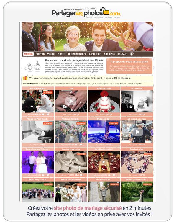 Centraliser des photos : votre espace de mariage privé et sécurisé permet de récupérer tous vos souvenirs de mariage dans un seul et même endroit !